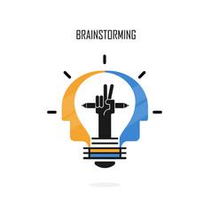 creative light bulbpencils and human heads logo vector image
