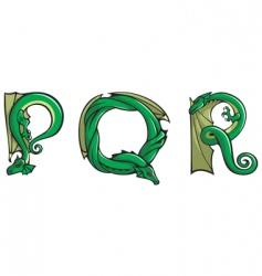 dragons Alphabet pqr vector image vector image