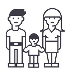 familymother father and son line icon vector image vector image