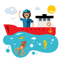 fishing flat style colorful cartoon vector image vector image