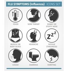 FLU SYMPTOMS Influenza icon set vector image