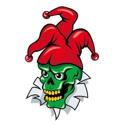 Joker skull cartoon vector