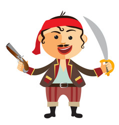 Pirate with pistol isolated on a white vector