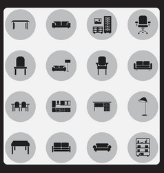 set of 16 editable furnishings icons includes vector image