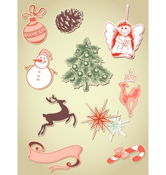 set of retro christmas elements vector image