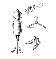 Shoes label hanger and mannequin sketch vector image