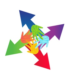 Arrows and painted hands logo vector image vector image