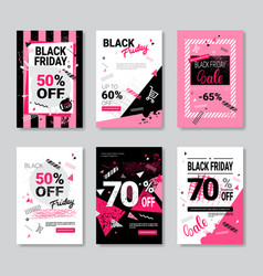black friday sale banner set pink posters vector image vector image