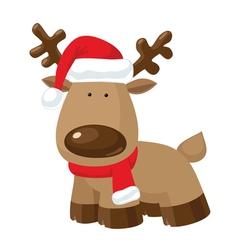 Christmas Reindeer standing in Santas red hat vector image vector image