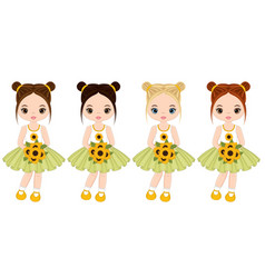 Cute little girls with sunflowers vector