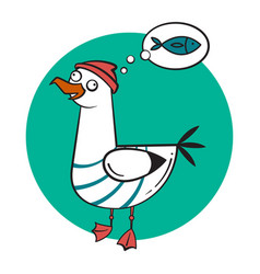 funny cartoon seagull dreaming vector image vector image