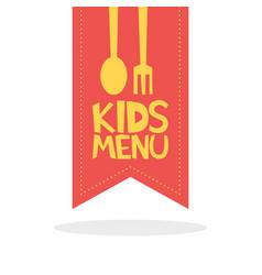 kids menu red label template vector image
