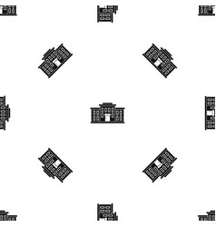 school building pattern seamless black vector image vector image