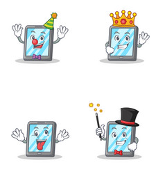 set of tablet character with clown king crazy vector image vector image