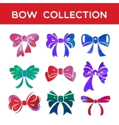 Watercolor and acrylic set of silhouettes bow vector image vector image