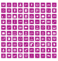 100 business people icons set grunge pink vector