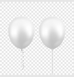 3d realistic white balloon with ribbon and vector image