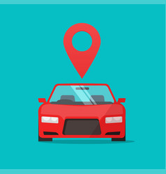 automobile with map pointer sign flat vector image