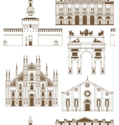 background with famous Milan landmarks vector image