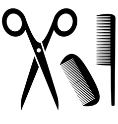 barber tools icon with scissors and comb vector image