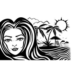beautiful woman on a tropical beach vector image