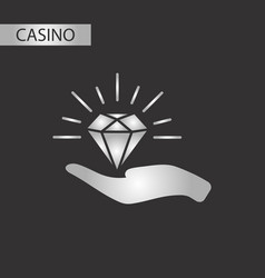 Black and white style diamond in hand vector