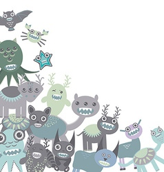 Blue and gray Funny monsters set on white vector