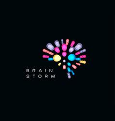 brainstorming event logo brain logotype mind vector image
