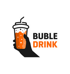 bubble drink outline logo vector image