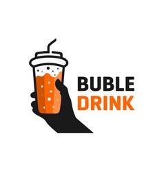 Bubble drink outline logo vector
