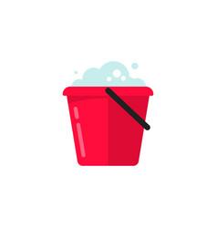 Bucket water icon flat cartoon pail or vector