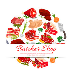 Butcher shop meat products poster for food design vector