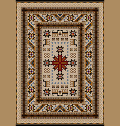 Carpet with stylized animals in beige and yellow vector