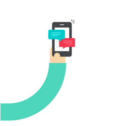 cartoon hand holding smartphone with chatting vector image