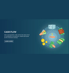 Cash flow banner horizontal cartoon style vector