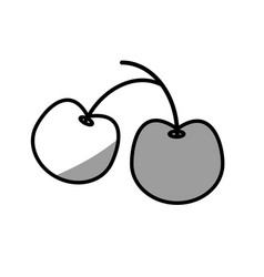 Cherry fresh food picnic shadow vector