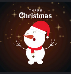 Chrismtas card with snow man and glitters vector