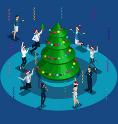christmas isometric men and women vector image