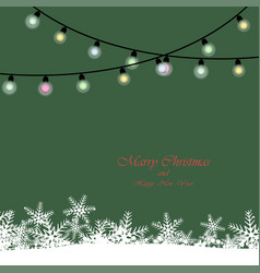 christmas lights realistic on green background vector image
