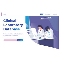 clinical laboratory database landing page template vector image
