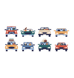 collection of funny people driving cars isolated vector image