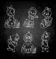 collection of school cartoon children vector image