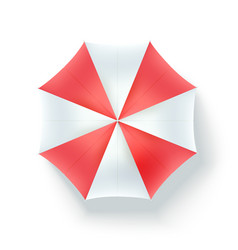 Color beach umbrella top view icon of open vector