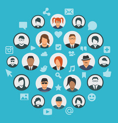conceptual social media cloud with people vector image