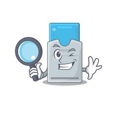 Cool and smart key card detective cartoon mascot vector