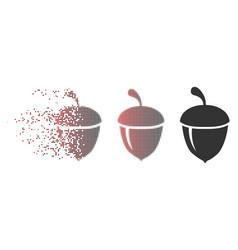 Disintegrating pixel halftone acorn icon vector