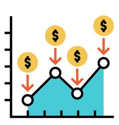 Dollar cost average flatoutline vector