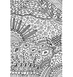 doodle landscape - coloring page for adults vector image