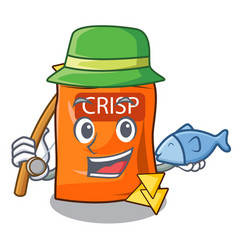 Fishing crispy chips snack on a character vector