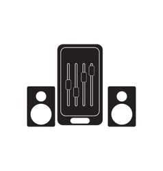 Flat icon in black and white Mobile phone speakers vector